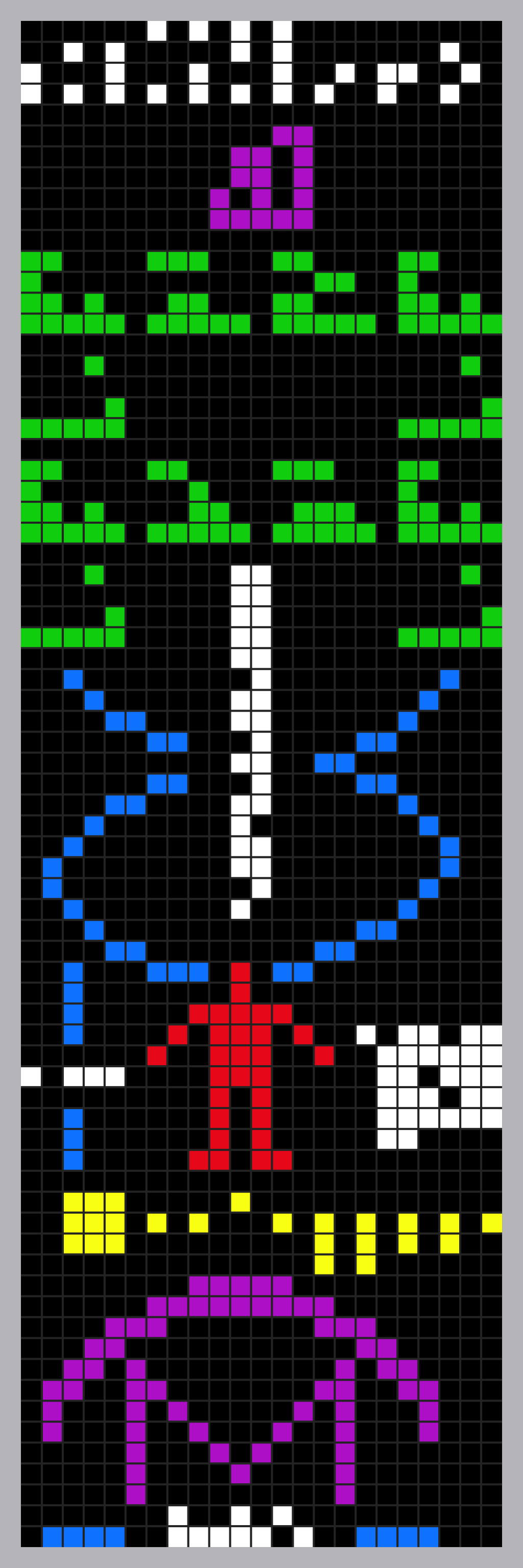 A colorized image of The Arecibo Message